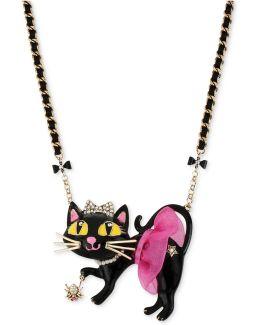 Antique Gold-tone Tutu Cat Pendant Necklace