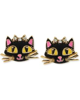 Antique Gold-tone Cat Stud Earrings