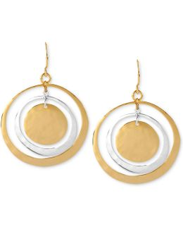 Earrings, Two-tone Hammered Circle Orbital Earrings