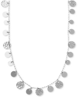 Necklace, Silver-tone Hammered Disc Strand Necklace