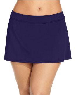 Plus Size Solid Swim Skirt