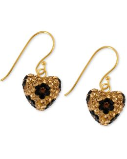 Antique Gold-tone Crystal Leopard Heart Drop Earrings