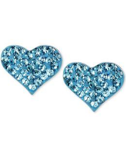 Silver-tone Heart Blue Crystal Stud Earrings