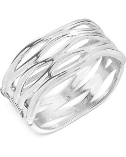 Silver-tone Sculptural Cut-out Hinge Bangle Bracelet