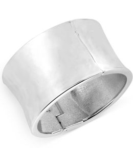 Silver-tone Sculptural Wide Hinge Bangle Bracelet