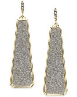 Gold-tone Gray Texture Linear Drop Earrings
