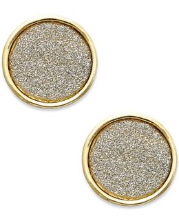 Gold-tone Gray Texture Round Stud Earrings