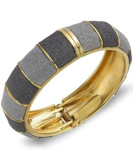 Gold-tone Gray Textured Bangle Bracelet