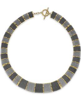 Gold-tone Gray Texture Collar Necklace