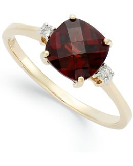 14k Gold Garnet (1-7/8 Ct. T.w.) And Diamond Accent Ring