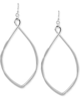 Silver-tone Large Oval Drop Earrings