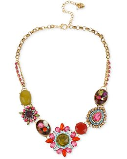 Gold-tone Multi-color Crystal Pendant Frontal Necklace
