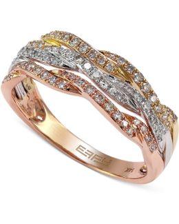 Diamond Tri-tone Ring (1/3 Ct. T.w.) In 14k Gold