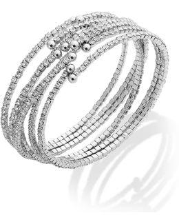Silver-tone Set Crystal Cuff Bracelet Set