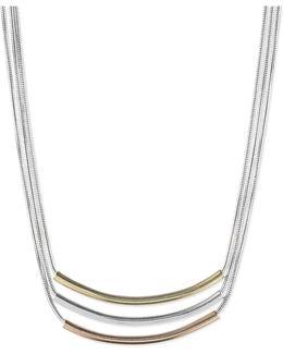 Tri-tone Triple Bar Pendant Necklace