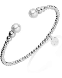 Silver-tone Graduated Bead And Organic Man-made Pearl Bangle Bracelet
