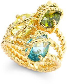 Gold-tone Three Stone-wrapped Twisted Ring