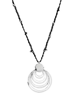 Silver-tone Black Cord And Hammered Ring Pendant Necklace