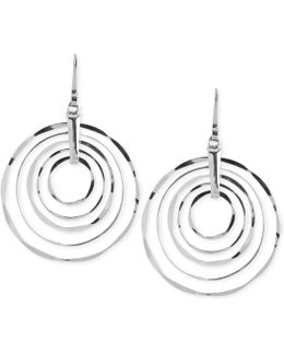 Silver-tone Hammered Ring Orbital Earrings