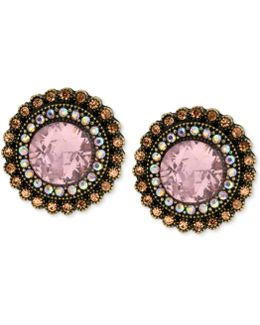 Gold-tone Crystal Gem Button Stud Earrings