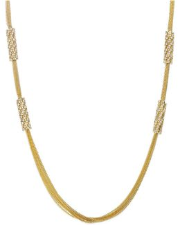 Gold-tone Multi-chain And Crystal Station Long Necklace