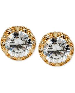 Gold-tone Crystal Ruffled Stud Earrings