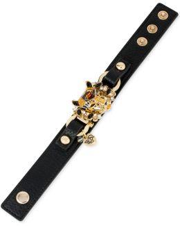 Gold-tone Faux-leather Leopard Snap Bracelet