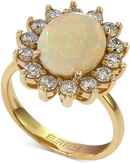 Opal (1-7/8 Ct. T.w.) And Diamond (1 Ct. T.w.) Ring In 14k Gold