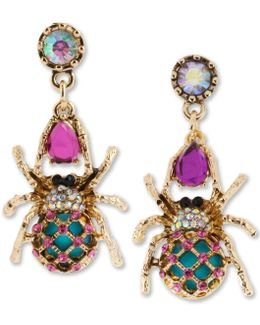 Gold-tone Spider Mismatch Drop Earrings