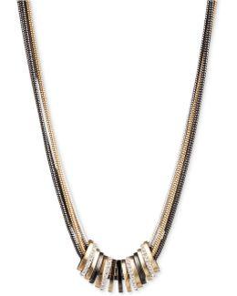 Tri-tone Crystal Large Slider Necklace
