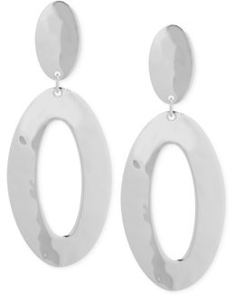Silver-tone Oval Double Drop Earrings