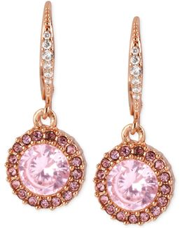 Rose Gold-tone Pink Crystal Circle Drop Earrings