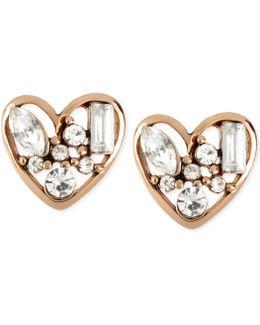 Rose Gold-tone Crystal Heart Stud Earrings