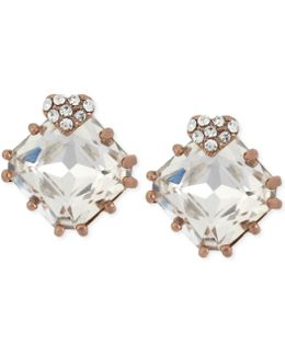 Rose Gold-tone Heart And Square Crystal Stud Earrings