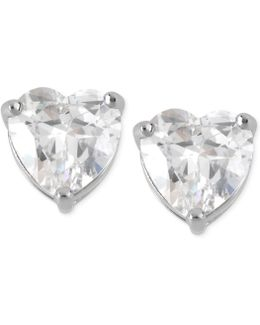 Silver-tone Clear Crystal Heart Stud Earrings