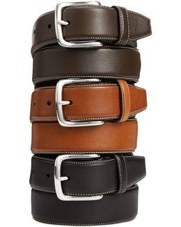 Burnished Edge Leather Belt