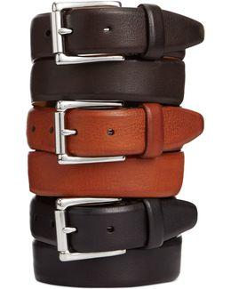 Burnished Edge Roller-buckle Belt