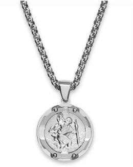 Men's St. Christopher Diamond Pendant Necklace In Stainless Steel