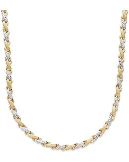 X-necklace In 10k Yellow And White Gold