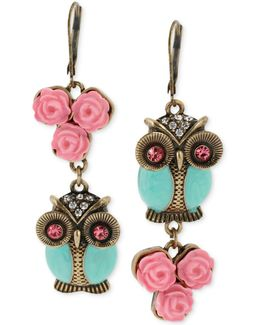 Gold-tone Owl Mismatch Earrings