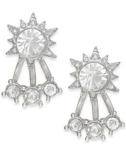 Silver-tone Crystal Front-back Stud Earrings