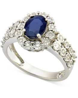 Sapphire (1-1/10 Ct. T.w.) And Diamond (1/4 Ct. T.w.) Ring In 14k White Gold