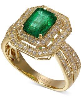 Emerald (1-3/8 Ct. T.w.) And Diamond (3/8 Ct. T.w.) Ring In 14k Gold