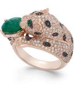 Emerald (1-1/2 Ct. T.w.) And Diamond (3/8 Ct. T.w.) Panther Ring In 14k Rose Gold