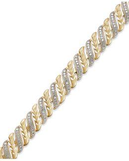 Diamond Accent Swirl Bracelet In Sterling Silver-plated Bronze