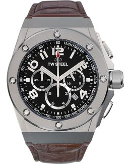 Unisex Chronograph Ceo Tech Brown Leather Strap Watch 44mm Ce4013