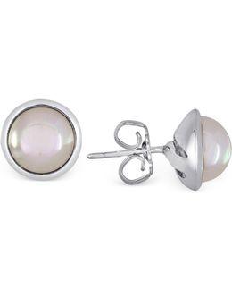 Sterling Silver Organic Man-made Pearl Stud Earrings
