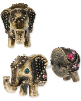 Brass-tone Elephant Front-back Stud Earrings