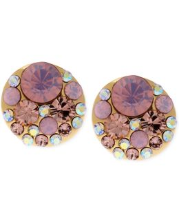 Gold-tone Pink Faceted Bead Stud Earrings