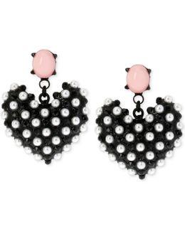 Black-tone Faux Pearl Heart Earrings
